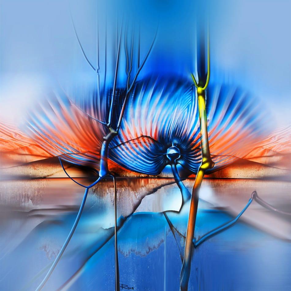 """Peisaj acrilic abstract pe pânză. """"Alegorie arboriferă"""" © by Radu Maier."""