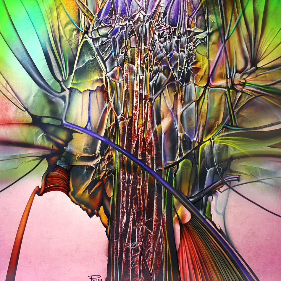 Peisaj abstract cu acrilic pe pânză.