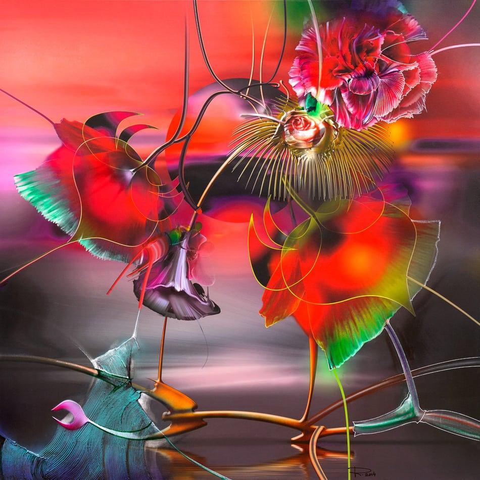 Die blühende Sonne, Blumenmalerei auf Leinwand, Radu Maier