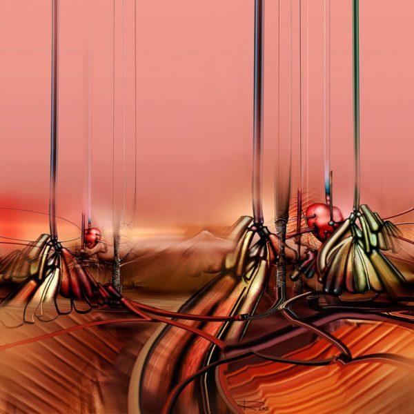 """Peisaj abstract, pictura acrilică pe pânză. """"Inimi periclitate"""" © by Radu Maier."""