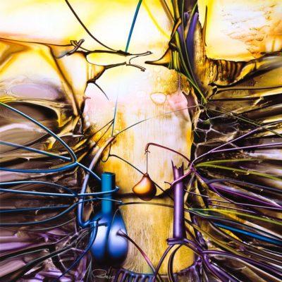 """Peisaj abstract cu acrilic pe pânză. """"Vale alta II"""" © by Radu Maier"""