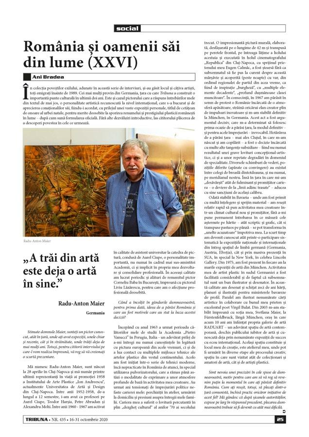 Interviu cu pictorul Radu-Anton Maier