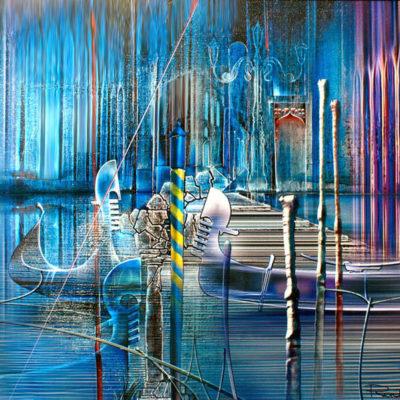 """Pictură cu Veneția, acrilic pe pânză. """"Gondola transcedentala"""" © by Radu Maier."""